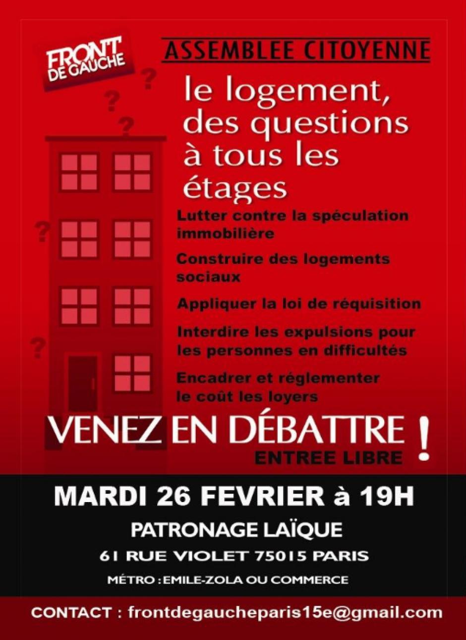 Le Logement : Compte-rendu de l'Assemblée Citoyenne du Front de Gauche